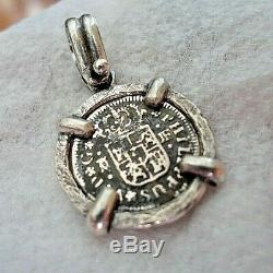 Genuine 1738 1/2 Reales Silver Spanish Treasure Cob Coin Sterling Jewelry