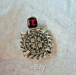 Genuine 1738 1/2 Reales Silver Spanish Treasure Cob Coin and Garnet Jewelry