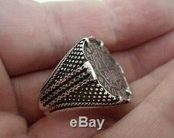 Genuine 1738 1 Reales Silver Spanish Treasure Cob Coin Sterling Ring sz 11 1/2
