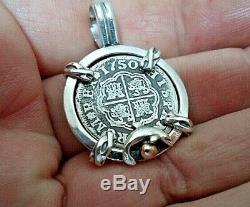 Genuine 1750 1 Reales Silver Spanish Treasure Cob Coin With 14k