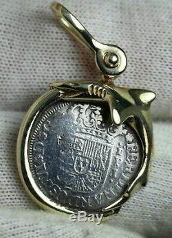 Genuine 1751 Reales Silver Spanish Treasure Cob Coin on 14K GOLD DOLPHIN BEZEL