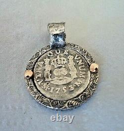 Genuine 1753 1/2 Reales Silver Spanish Treasure Cob Coin Pendant with 14K Accent