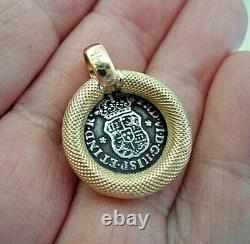 Genuine 1757 1/2 Reales Silver Spanish Treasure Cob Coin In Custom 14K Mount