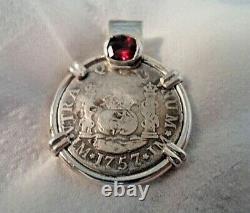 Genuine 1757 2 Reales Silver Spanish Treasure Cob Coin & Garnet Pendant