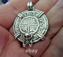 Genuine 1758 2 Reales Silver Spanish Treasure Cob Coin Sterling Pendant