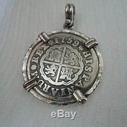Genuine 1759 2 Reales Silver Spanish Treasure Cob Coin Jewelry Pendant