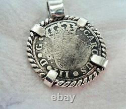 Genuine 1761 2 Reales Silver Spanish Treasure Cob Coin With 14K Shell