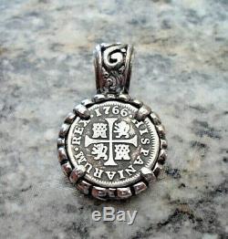 Genuine 1766 1/2 Reales Silver Spanish Treasure Cob Coin Custom Sterling Jewelry