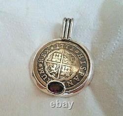 Genuine 1771 2 Reales Silver Spanish Treasure Cob Coin And Garnet Pendant