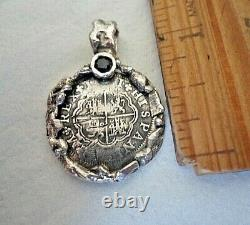 Genuine 1 Reales PhilipV Silver Spanish Treasure Cob Coin Pendant With Sapphire