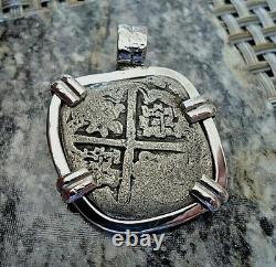 Genuine 4 Reales Philip II(1556-1598) Silver Spanish Treasure Shipwreck Cob Coin