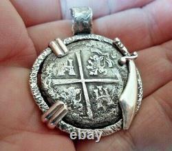 Genuine 4 Reales Shipwreck Silver Spanish Treasure Cob Coin In Custom Setting