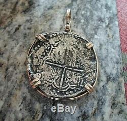 Genuine 8 Reales Atocha Shipwreck Spanish Treasure Cob Coin 14K mount with Cert