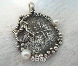 Genuine 8 Reales Shipwreck Silver Spanish Treasure Cob Coin Jewelry Pearl