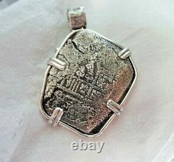 Genuine 8 Reales Silver Spanish Shipwreck Cob Coin in Custom Sterling Mount