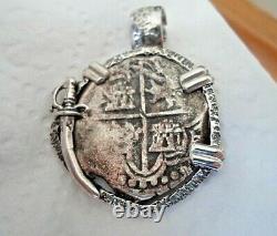 Genuine 8 Reales Silver Spanish Treasure Cob Coin Custom Sterling Setting