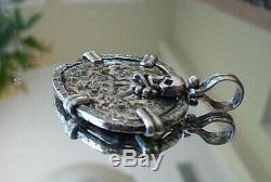 Genuine Shipwreck 2 Reales Silver Spanish Treasure Cob Coin Jewelry Pendant