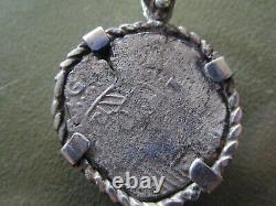 Genuine Shipwreck 4 Reales Silver Spain Cob Coin w Pendant Philip 3 Atocha