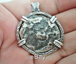 Genuine Shipwreck 4 Reales Silver Spanish Treasure Cob Coin & Garnet Jewelry