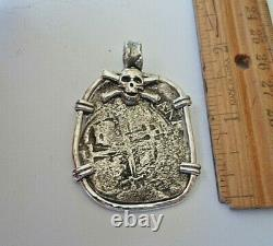 Genuine Shipwreck 8 Reales Silver Spanish Treasure Cob Coin Custom Pendant