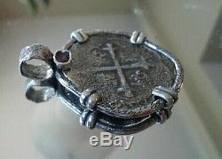 Genuine Shipwreck 8 Reales Silver Spanish Treasure Cob Coin & Ruby Jewelry