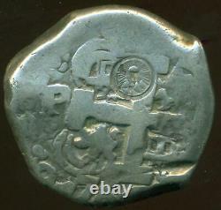 Guatemala C/m Type II (1839) On Potosi 8 Reales Silver Cob Coin 1766 Vy Scarce