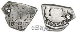 Guatemala, Silver Cob 2 Reales, 1734(J), Full Date #1003