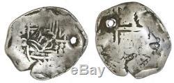 Guatemala, moclon 2 reales, crown countermark (1662) on a Potosi, Bolivia, cob