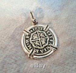 High Grade 1738 1 Reales Silver Spanish Treasure Cob Coin Jewelry Pendant