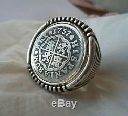 High Grade 1757 1 Reales Silver Spanish Treasure Cob Coin Sterling Ring sz10 1/2