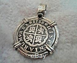 High Grade Genuine 1758 2 Reales Silver Spanish Treasure Cob Coin And Sapphire J