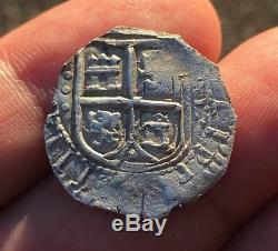 Ii EXTREMELY RARE! SILVER COB 2 REALES PHILIP IV. NUEVO REINO (Colombia) 1662