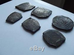 LOT OF 6 SILVER COBS. REALES, Mexico City, Mexico, cob 8,1666, Hoard Uncleaned