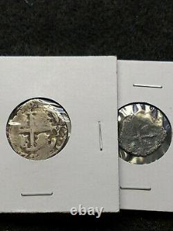 Lot Of 2 Spanish Cobs, 1 reales and 1/2 reales, Dated Pirate Silver