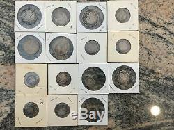 Lot of 15 Spanish Colonial Silver COB Coins 2 Reales, 1 Reale, 1/2 Reale 1700s