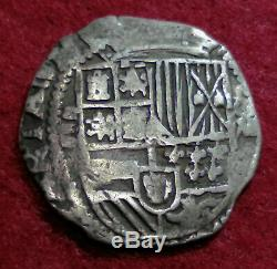 Lovely pirate cob & spanish colonial Silver 8 Reales Philip II Potosi B