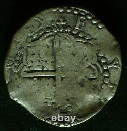 Lovely pirate cob & spanish colonial Silver 8 Reales Potosi P M (over Q) 1617