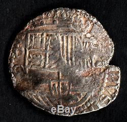 Lovely pirate cob & spanish colonial Silver 8 Reales Potosi Q 1614-1616 Rare