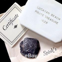 Lucayan Beach Shipwreck Treasure, 1628. Spanish Silver 8 Reales Cob. COA