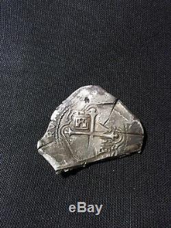 MEXICO 1656 Mo P SILVER 8 REALES COB. EXTRAORDINARY COIN