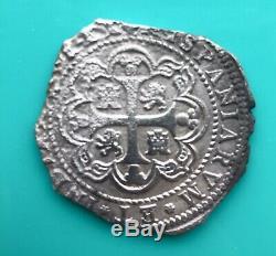 MEXICO 1733 8 REALES PHILIP V MoMF Silver Coin Spanish Cob Felipe V