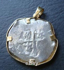 MEXICO 8 REALES SILVER COB COIN 14K 4 A 5 GRAMS Of GOLD PENDANT BEZEL 1630-1660