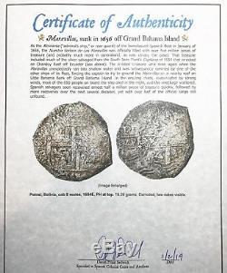 Maravillas Shipwreck (1656) Potosi, Bolivia Silver Cob 8 Reales Ph. IV withCOA