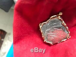 Mel Fisher 1715 Fleet Shipwreck Mexico Silver Cob 8 Reales 14K gold pendant