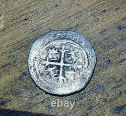 Mexican Silver Cob 1/2 Real PVS Full Mark 1/2 Visible assayer O RARE
