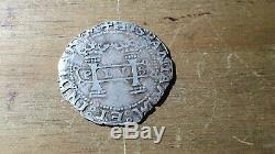 Mexican Silver Cob Coin Macuquina Charles and johanna 1 Real Juana la loca