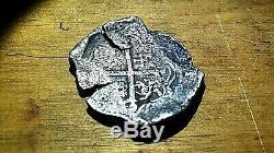 Mexican Silver Cob Philipus 8 Reales BIG RARE PIRATE COIN