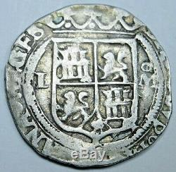 Mexico 1500's Silver 1 Reales Carlos & Johanna Old Antique 16th Century Cob Coin