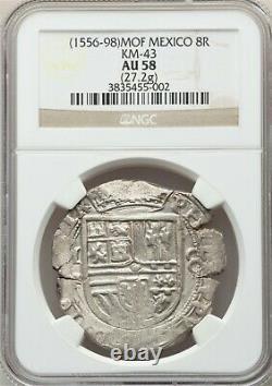 Mexico (1556-98) MOF 8 Reales NGC AU58, Philip II Cob