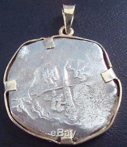 Mexico 8 Reales Silver Cob Coin 14 K Gold Pendant Bezel